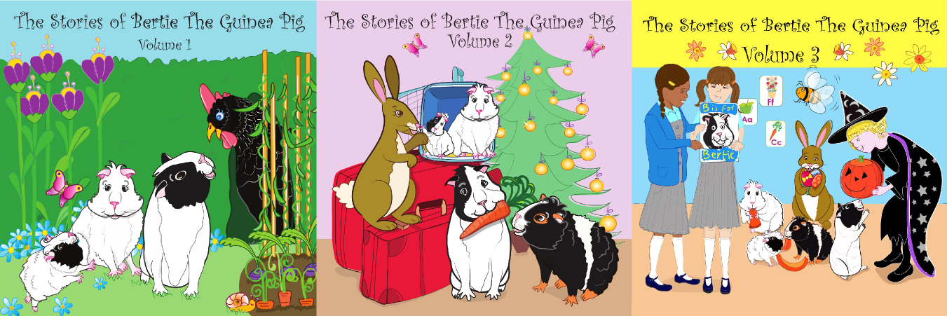 Audio Book album covers for Bertie the Guinea Pig stories
