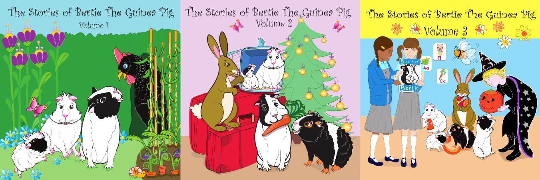 Audio Book album covers for Bertie the Guinea Pig stories